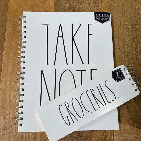 Rae Dunn TAKE NOTE Notebook with GROCERIES Notepad